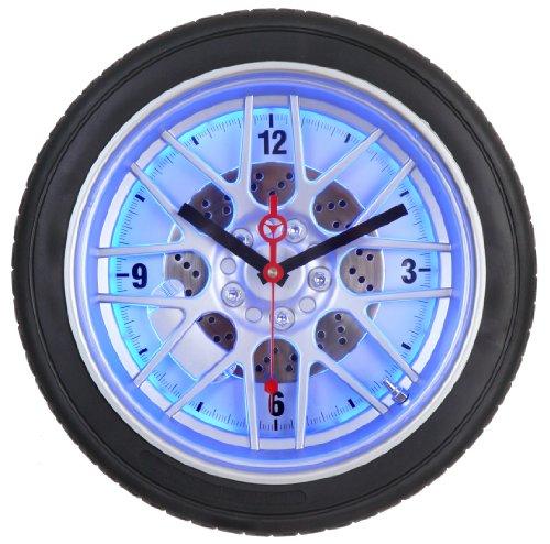 Maple's 14-Inch Tire Wall Clock, Blue Neon