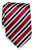 Retreez Preppy Stripe Pattern Woven Microfiber Mens Tie - Various Colors