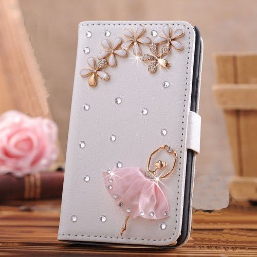 Luxury 3D Bow Fashion Bling Diamond Flower Crown Mirror Tower Ballet Girl Butterfly PU Flip Leather Case Cover For Smart Mobile Phones (Samsung Galaxy Grand 2 G7102 G7106, Ballet Girl) (Mobile Covers For Grand 2 compare prices)
