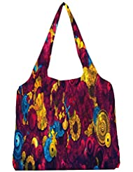 Snoogg Digital Floral Kenzie Womens Jhola Shape Tote Bag