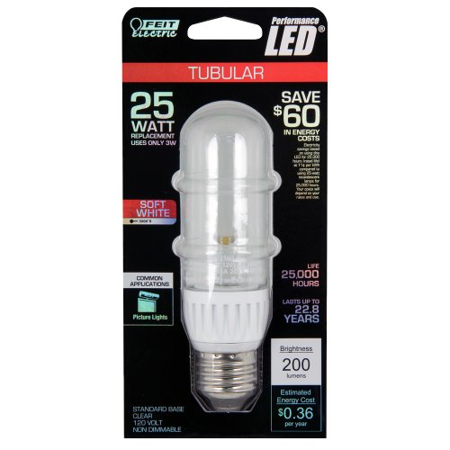 Feit Bpt10/Led Led Non-Dimmable T10 Clear Tubular, 25W Equivalent