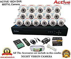 ACTIVE 16CH DVR DOM-CABLE-HARDDISK-BNC-DC-POWER SUPPLY-TIE CCTV CAMERA COMBO