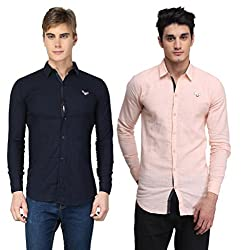 BRAVEZI Men's Navy Blue & Peach Solid Casual Slim Fit Shirt