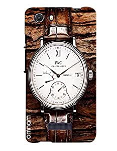 Omnam Watch With Brown Straps And White Dial Lying On Stone Back Cover Case For Micromax Unite 3