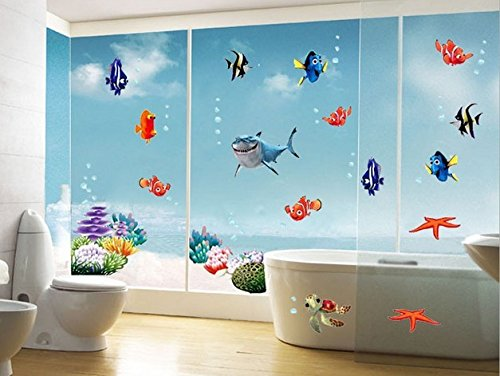 Home Wall Decor Decals Poster House Wall Stickers Quotes Removable Vinyl Large Wall Sticker For Kids Rooms Sticker Sharks Swimming Pool Sticker W-535 front-525944