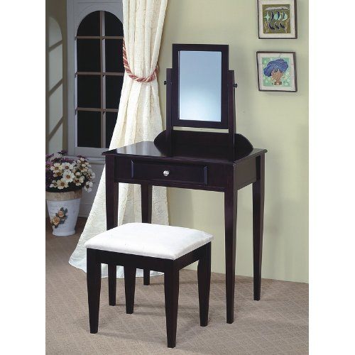 Contemporary Cappuccino Finish Desk & Chair Vanity Set
