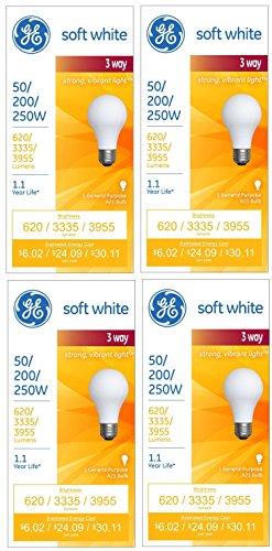 GE Lighting 56948300 3-Way 50-200-250 Soft White Light Bulb (Pack of 4)