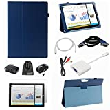 EEEKit Office Kit 9-in-1 for Microsoft Surface Pro 3, PU Folio Protective Stand Cover Case + Anti-glare Screen Protector Film + Mini DP to HDMI Cable(6 feet) + 3.5mm Male to 2 RCA Male Cable(5 feet) + Mini Display Port to VGA Adapter + VGA Male/Male Cable(5 feet) 3 Ports USB Hub Spiltter + 2.4G Wireless Mouse Black + EEEKit Accesory Storage Pouch (Dark Blue)