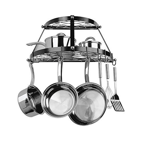 Rangekleen Home Kitchen Gadgets Cooking Utensils Pot Rack Double Shelf Black Enamel