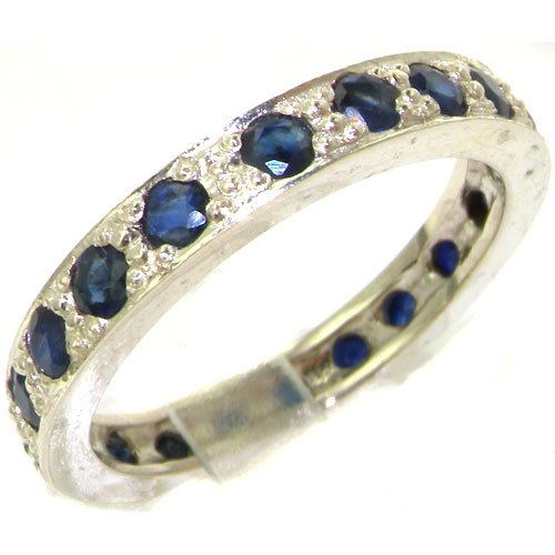 High Quality Solid Sterling Silver Natural Sapphire Full Eternity or Stack Ring - Size 9.25 - Finger Sizes 5 to 10 Available - Suitable as an Anniversary ring, Engagement ring, High Quality ring, or Promise ring
