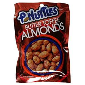 Adams & Brooks P-Nuttles Butter Toffee Almonds, 2-Ounce Bags (Pack of 12)