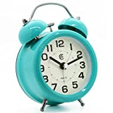 "JCC 3"" Retro Twin Bell Quiet Silent Non Ticking Sweep Second Hand Bedside Analog Quartz Alarm Clock with Nightlight and Loud Alarm - Battery Operated(Turquoise)"