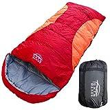 【SOUTH WIND】丸洗いのできる BIGサイズ 寝袋 シュラフ 封筒型 耐寒温度 -5℃ コンパクト収納 オールシーズン (レット×オレンジ)