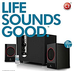 Circle CT 2.1 350 30 Watt Speaker System with Remote / Supports Aux-in, USB, SD and FM input / Sturdy Wooden Bass-Reflex Subwoofer (BASS BOOST TECHNOLOGY) / ESPECIALLY DESIGNED FOR DIGITAL AUDIO SOURCES / HIGH END CROSS OVER / STYLISH AND EASY CONTROL FOR ALL YOUR AUDIO GEAR / HIGH QUALITY SPEAKER