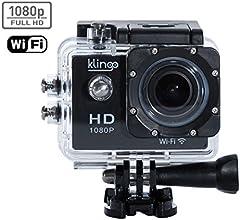 Klingo - ActionPro Caméra Full HD 1080P type Go Pro avec Objectif 12 Mégapixels - Commande via Smartphone par Wifi - Modèle Grand Angle 170° - 20 Accessoires Inclus - Black Edition