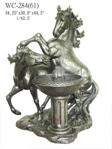 Garden Patio Outdoor Indoor Two Horse Statue Sculpture Water Fountain