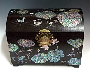 Mother of Pearl Luxury Large Handmade Lacquered Duck in Lotus Pond Design Asian Big Brown Wooden Jewelry Trinket Keepsake Treasure Box Ring Watch Case Chest Organizer