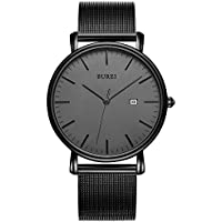 BUREI Men's Fashion Minimalist Wrist Watches Analog Deep Gray Date with Black Milanese Mesh Band (Deep Gray)