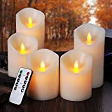 Pandaing LED Flameless Candles with 10-Key Remote Control Timer Classic Pillar Moving Flame Real Wax Candles, 3.25-Inch in Diameter, 4-Inch and 6-Inch Height, Battery Powered, Ivory Color, Set of 5