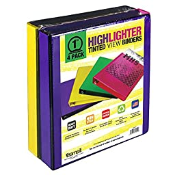 Samsill 1 Highlighter Tinted View Binders (4 ct.)