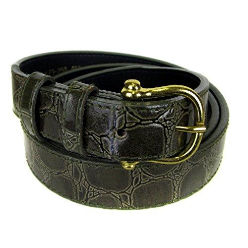 Blt-A-80-32 - Mens - Dark Olive - Alligator Bonded Leather Belt