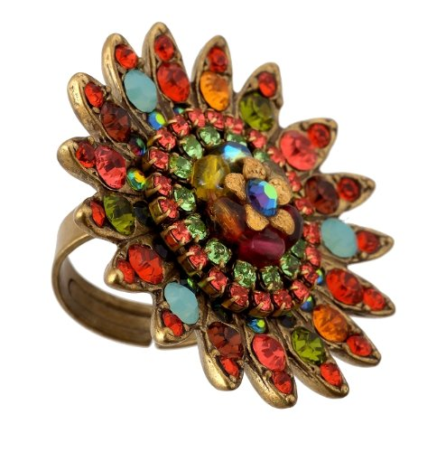 Michal Negrin Admirable Ring Embellished with a Center Hand Painted Flower surrounded by Vintage Inspired Petals, Orange, Green and Multicolor Swarovski Crystals
