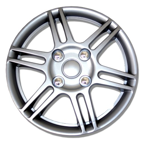 TuningPros WSC-004S14 Hubcaps Wheel Skin Cover 14-Inches Silver Set of 4 (Saturn Ion Wheel Cover compare prices)