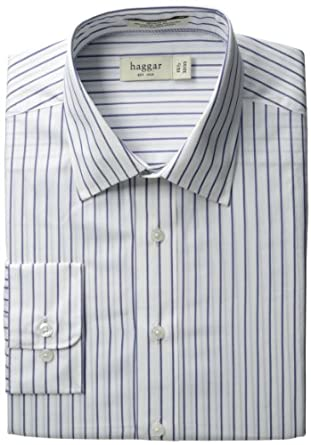 Haggar Men's Regular Fit Pinpoint Oxford Long Sleeve Pattern Dress Shirt, Slate Blue, 16.5(36/37)