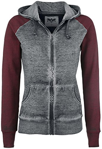 Black Premium by EMP Burnout Zipper Felpa jogging donna grigio scuro/bordeaux S