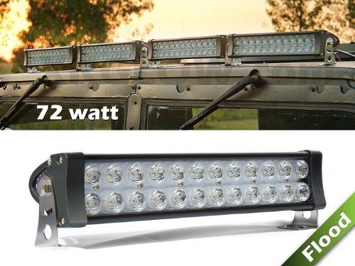 1Pc 72Watt 6000Lm Flood Beam 24 Led Super Bright Low Profile Aluminum High Power Work Light For Tractor Truck Atv 4Wd Off Road Vehicle Driving Fog Lamp- 12V & 24 Universal