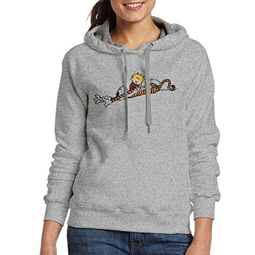 FUOCGH Women's Pullover Calvin And Hobbes Hoodie Sweatshirts Ash M ()