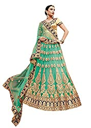 Ishin Net Satin Party Wear Embellished Green & Golden Lehenga
