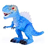 Vabliss T-Rex Electronic Light Up Dinosaur with Flashing Lights and Realistic Animal Sounds (Blue)