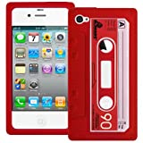 Red Retro Xylo-Tape Cassette Silicone Cover / Skin / Case for the Apple iPhone 4 4G 4S.