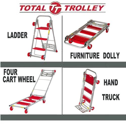 Total Trolley 4 in 1 Hand Truck Dolly Step Ladder Red