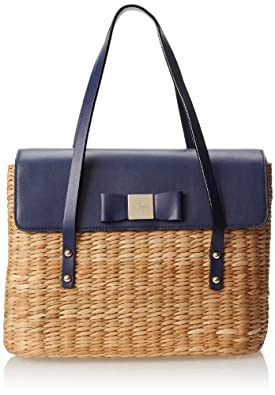 kate spade new york Vita Limoni Large Luisa Shoulder Bag,Natural/French Navy,One Size