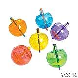 Plastic Neon Spin Tops With Glitter (4 DOZEN) - BULK