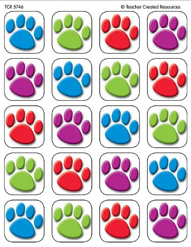 Teacher Created Resources Colorful Paw Prints Stickers (5746) - 1