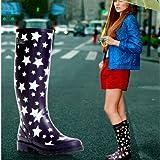 レインシューズ レインブーツ 雨靴 レディース 女性用 雨具 靴 ロング丈 星柄 hy403-yx16