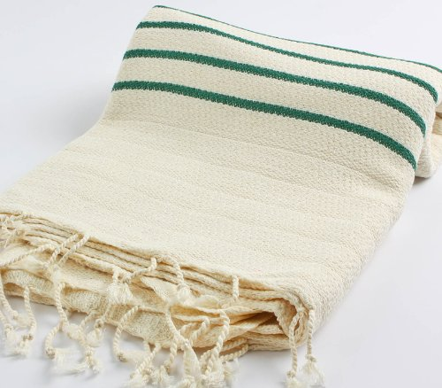 "Hand Loomed Striped Pestemal Turkish Bath Towel 34""X66"" %100 Cottontm By Cacala ""Green"""