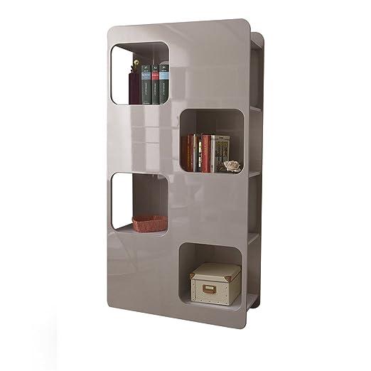 Tuoni Book Libreria Parete, Legno Laccato, Tortora/Bianco