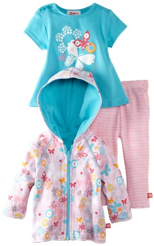 Today Sale Zutano Baby-Girls Newborn Summer Dream Hoodie with Swing Tee and Legging Set, Multi, 24 Months