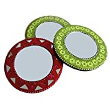 Indian Mirror Handmade Lac Beaded Material Designer Round Mirror Women Cosmetic Pouches Mirror Set Of 3 Pcs