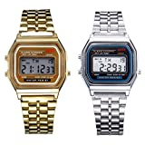 WILLTOO 2PC Gold & Silver Stainless Steel Digital Alarm Stopwatch Wrist Watch Gift