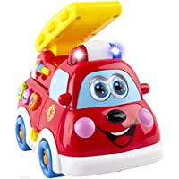 WolVol Adorable Mini Fire Truck Toy With Lights And Sirens, Option To Go Around And Drive On Its Own, Various...