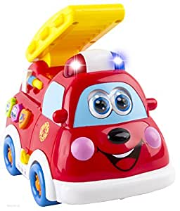 WolVol Adorable Mini Fire Truck Toy with Lights and Sirens, Option to go around and drive on its own, Various Talking and Sounds