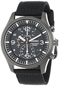 Seiko Men's SNDA65 Stainless Steel and Black Canvas Strap Watch