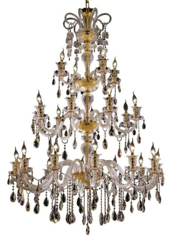 Elegant Lighting 7832G44G/Rc Elizabeth 63-Inch High 24-Light Chandelier, Gold Finish With Crystal (Clear) Royal Cut Rc Crystal front-688313