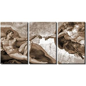Framed Huge 3 Panel Art Michelangelo Creation Of Adam Giclee Canvas Print