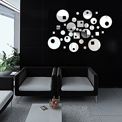 DIY - Do It Yourself New Wall Mirror Stickers, Geometric Asymmetry, Made of Acrylic Material Like Mirror, Modern Design for Home Living Room Bedroom Kitchen Baby Child Novelty Luxury Crystal Wall Silent Watch Extra Large Clocks, Silver